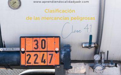 Clasificación de las mercancías peligrosas: Clase 4.1
